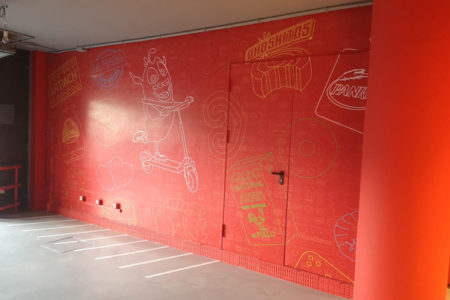 Decoración de pared exterior con vinilo impreso
